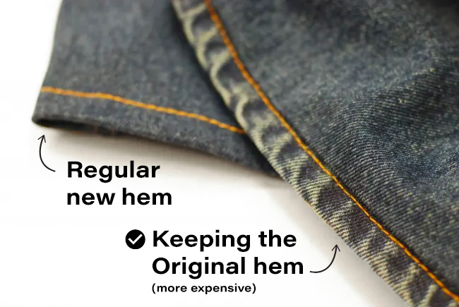 jeans original hem vs regular hem