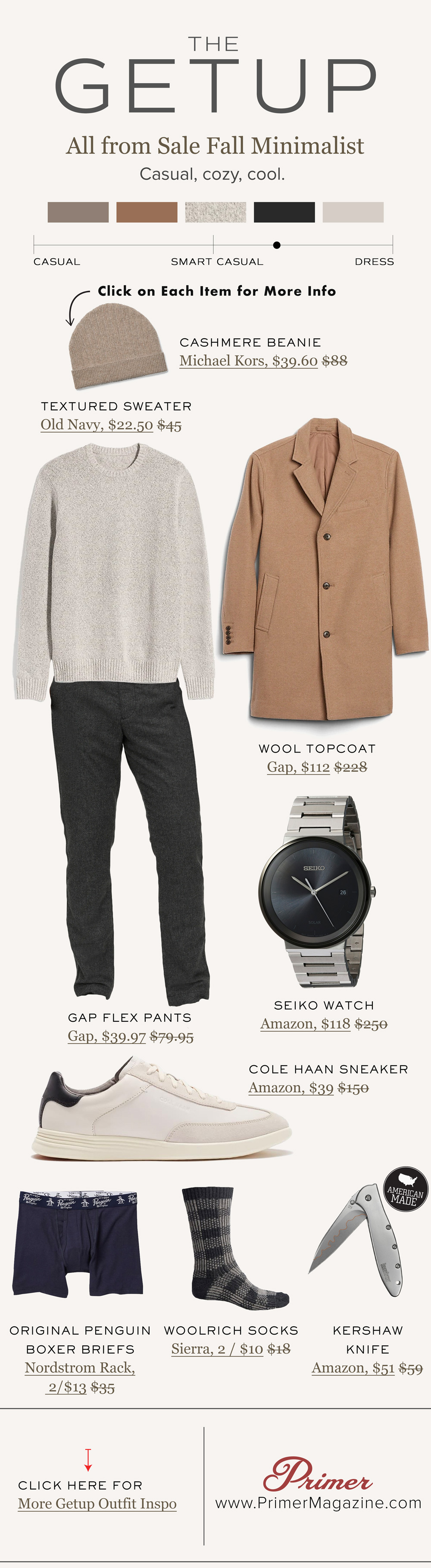 the getup men fall outfit idea topcoat sneakers sweater