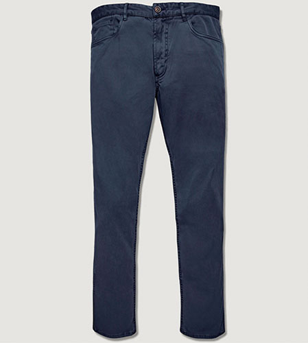 navy twill pant high low