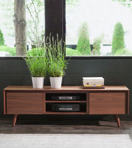 article walnut console high low