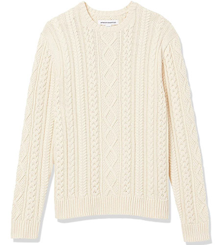amazon essentials fisherman cable sweater high low