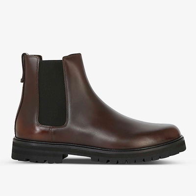 A pair of brown chelsea boots
