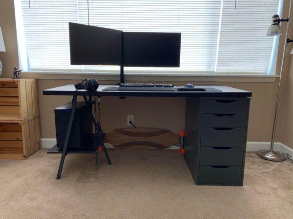 simple black ikea desk hack