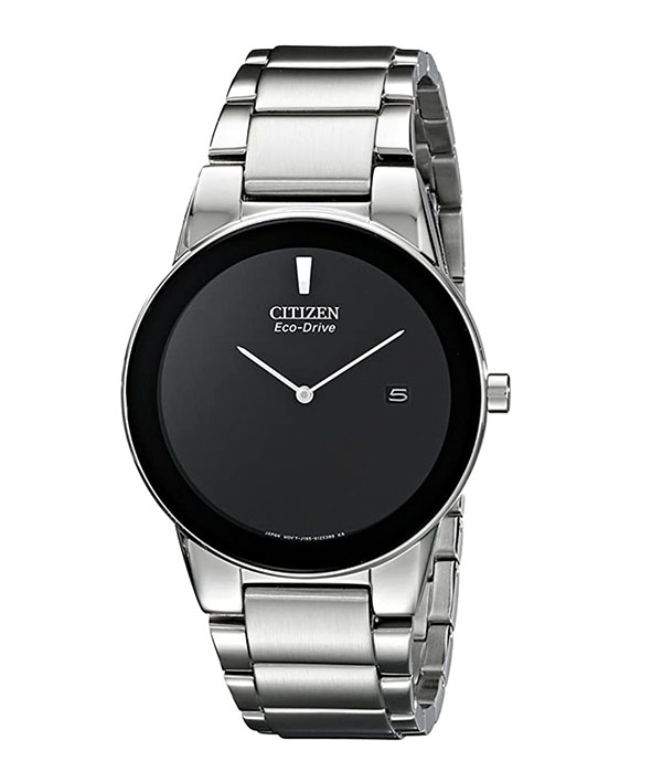 Men's stainless steel watch with black face from Citizen