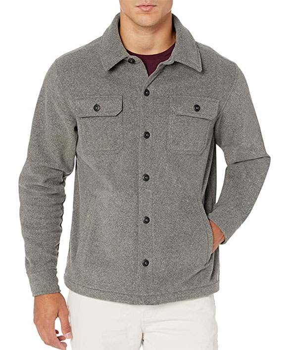 Amazon Essentials Men's Long-Sleeve Polar Fleece Shirt Jacket in grey