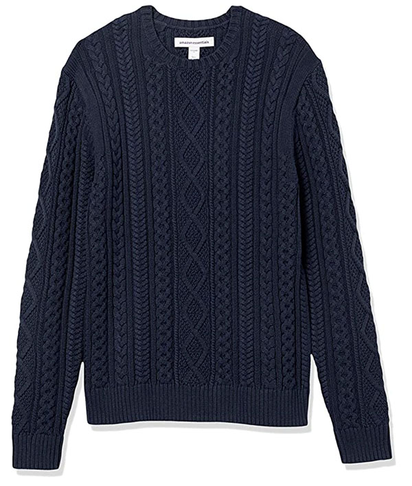 Amazon Essentials men's navy blue cable knit fisherman style sweater