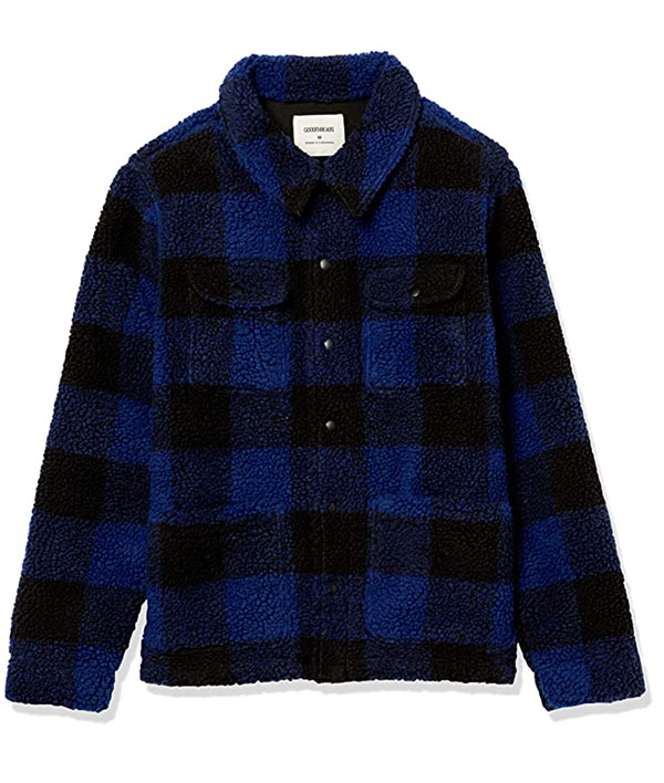 goodthreads brand men's sherpa long sleeve shirt jacket in black and blue plaid