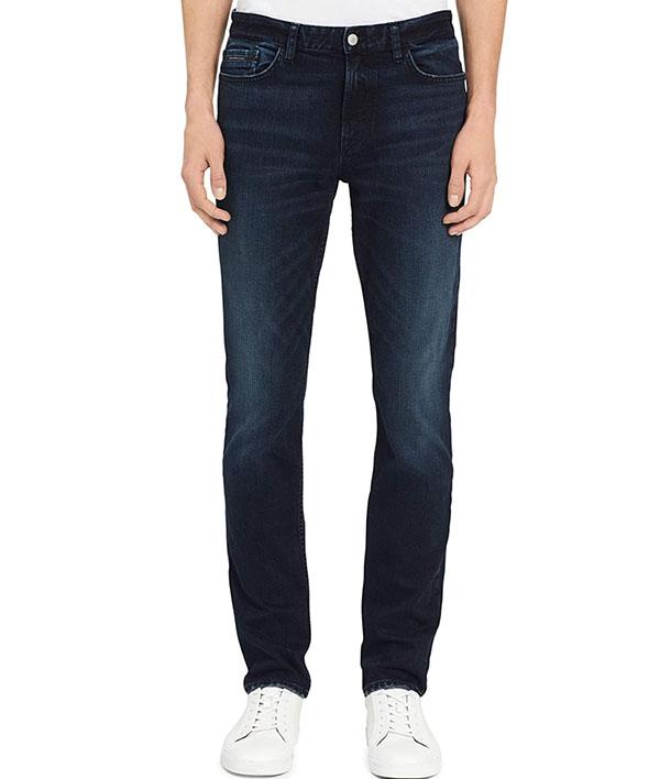 men's skinny fit dark blue jeans from calvin klein