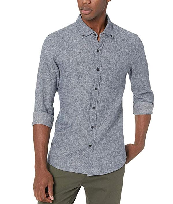 men's long sleeve button down heathered shirt from goodthreads