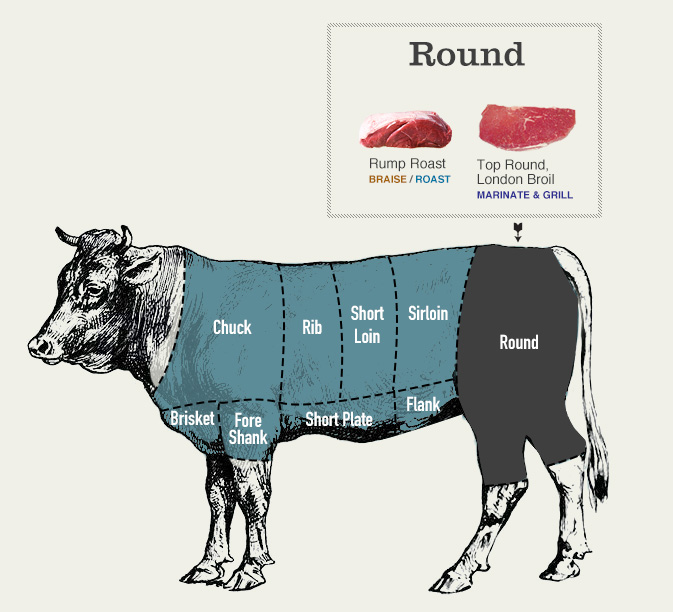 Beef cuts diagram of the round