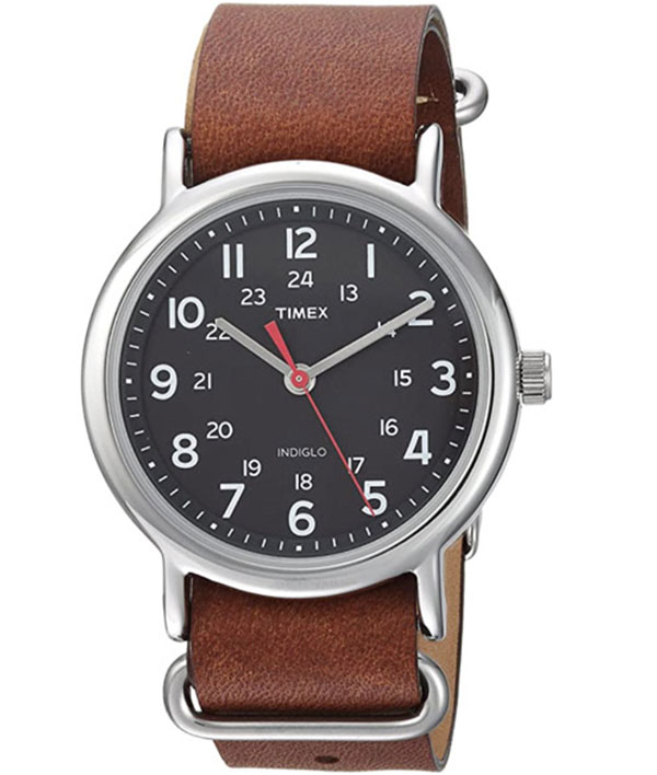 Timex men's weekender watch with brown leather strap