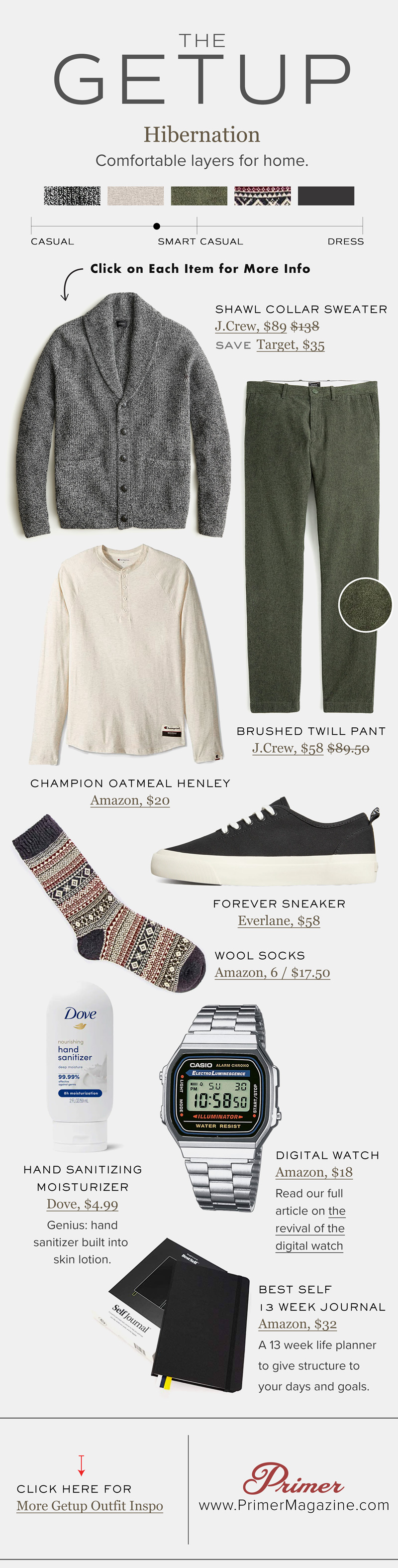 the getup hibernation shawl collar sweater with henley and green chinos fall outfit