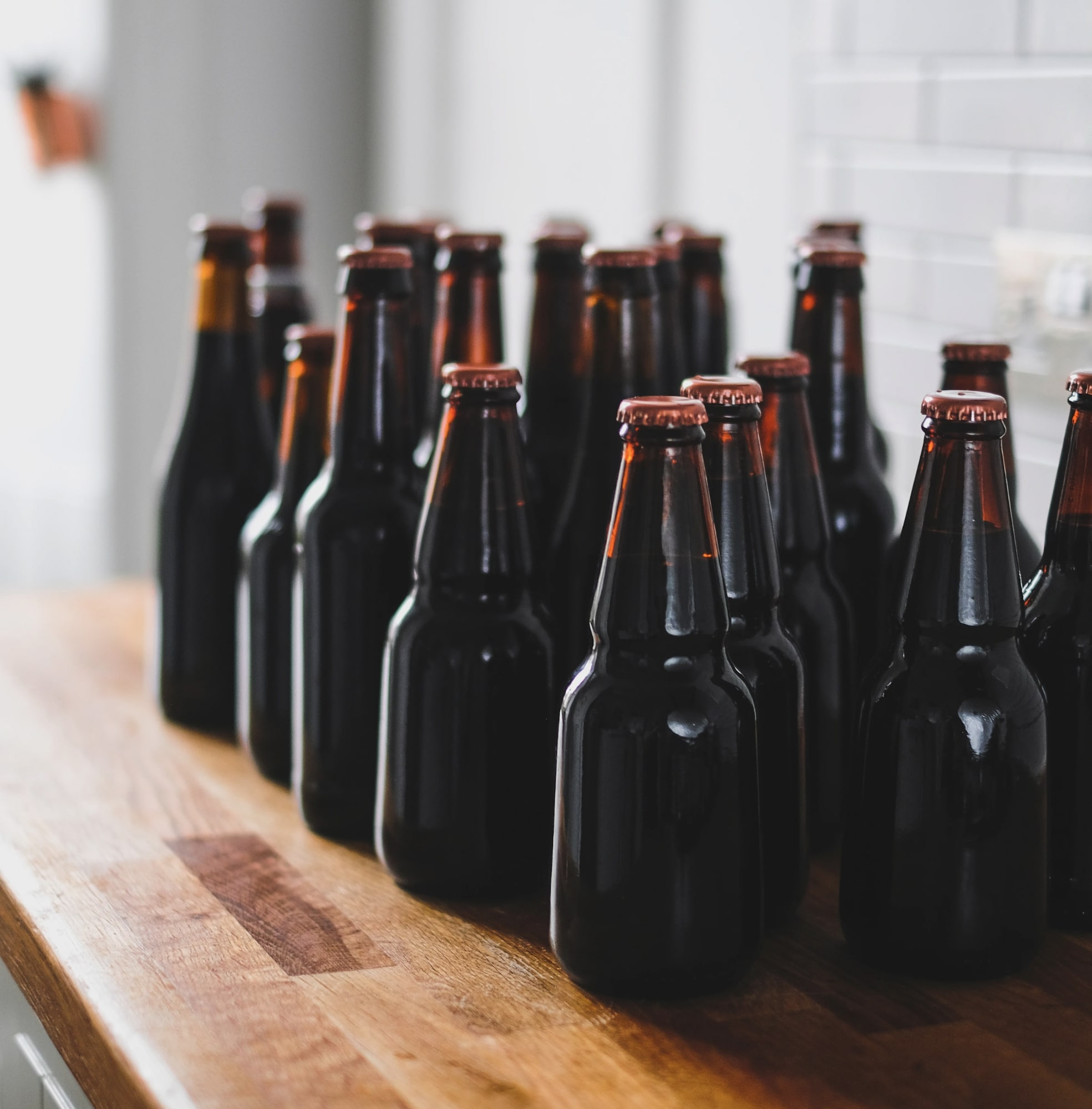 Image of beer bottles on a table