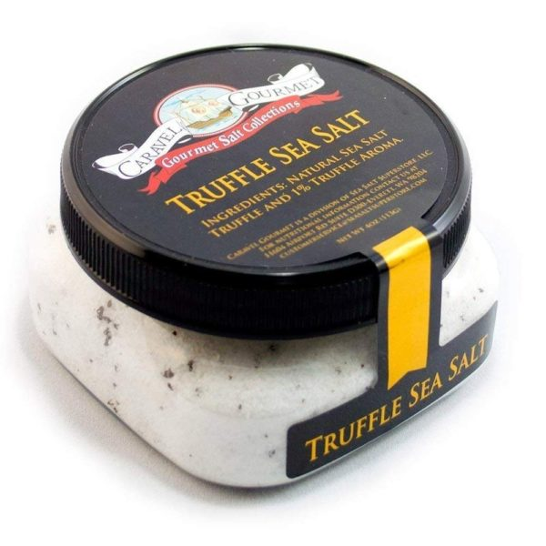caravel gourmet black truffle sea salt in a jar
