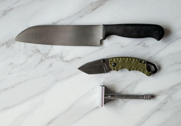 a chefs knife, folding knife, and razor