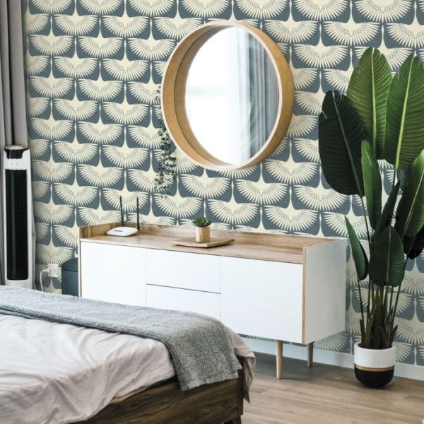 blue feather wallpaper accent wall