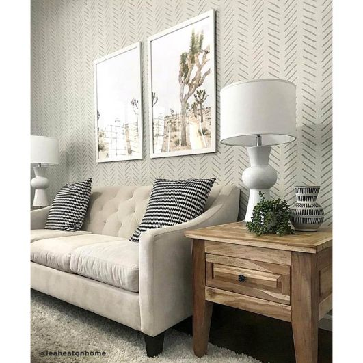 chevron stencil accent wall