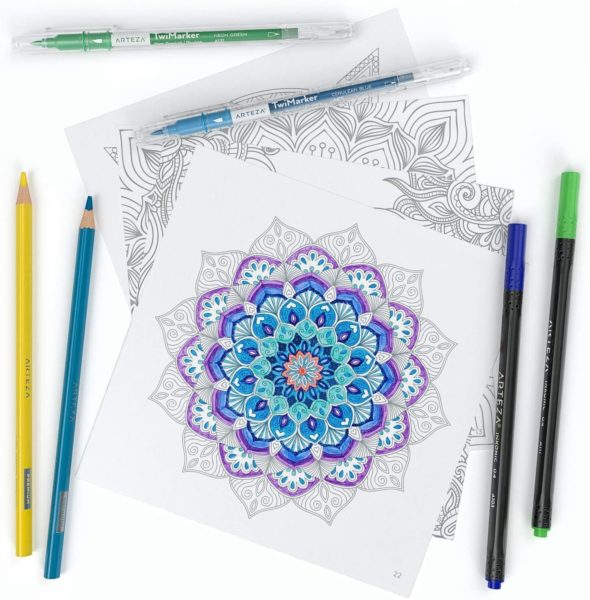 ARTEZA adult coloring book with color pencils and pens