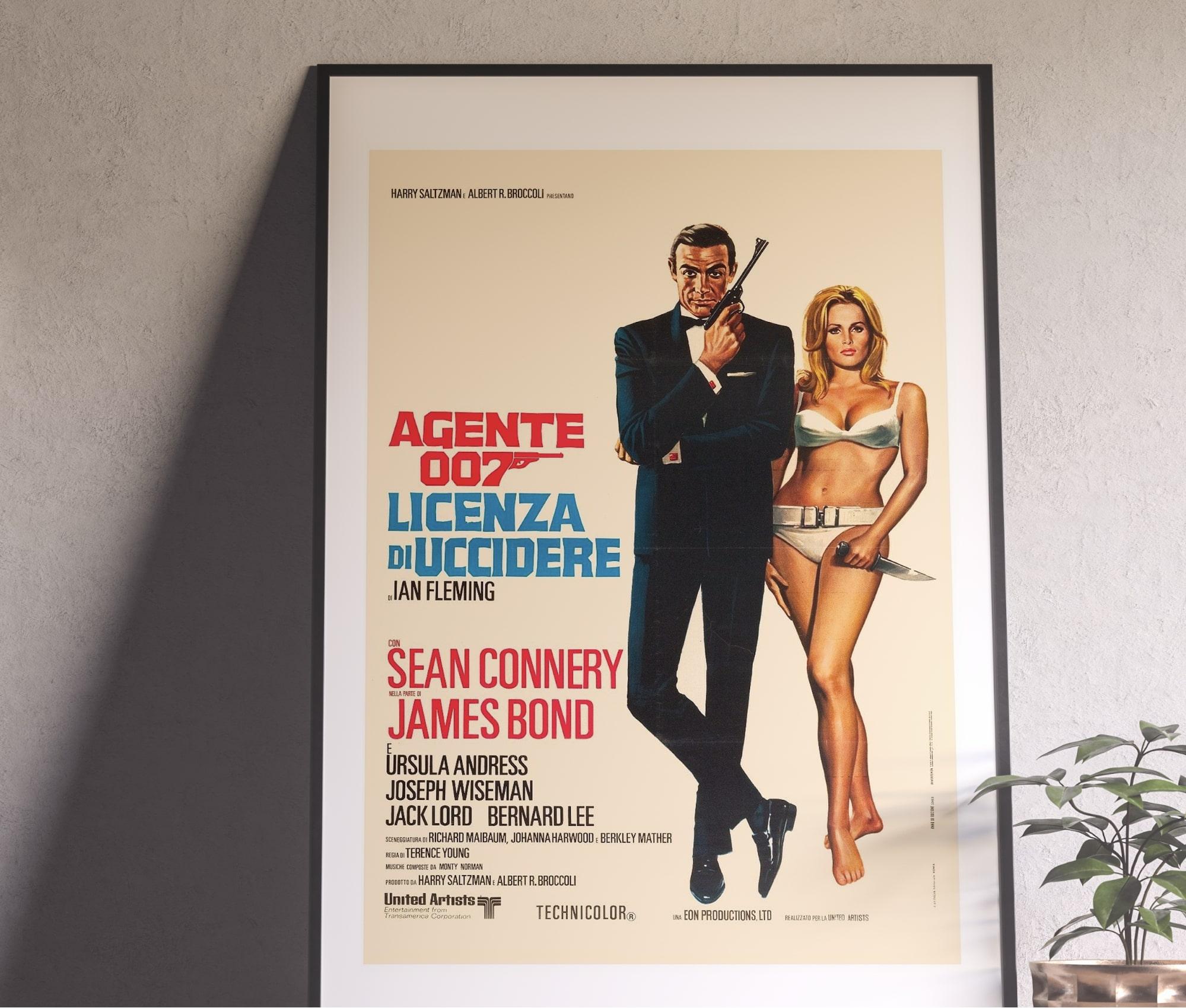 Image of a vintage James Bond movie poster in a frame