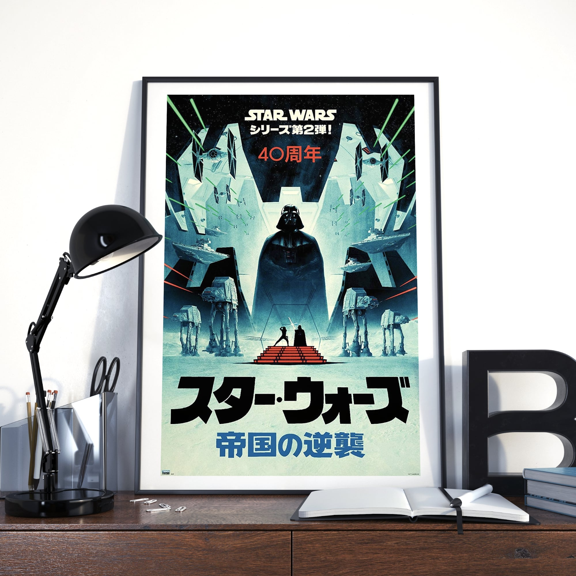 Image of Star Wars movie poster in a frame on a desk