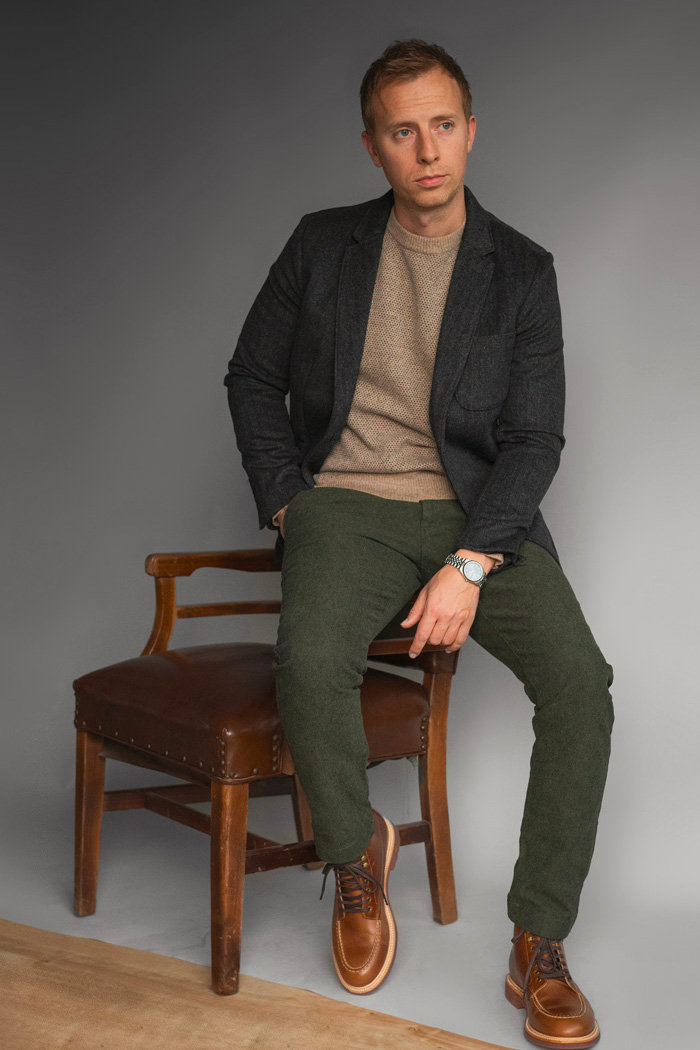 JCrew textured pants in green