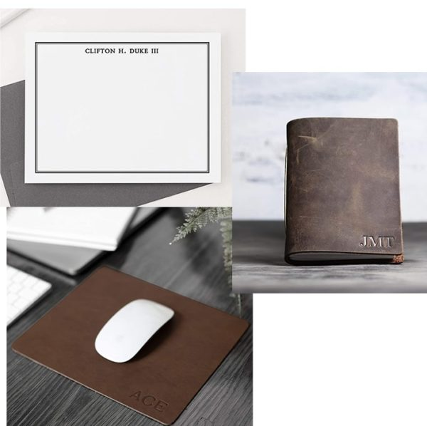 monogramed leather mousepad and monogramed leather journal book cover