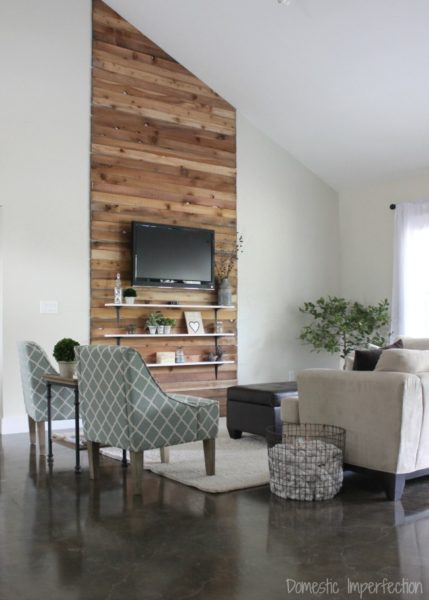 rustic wood living room accent wall
