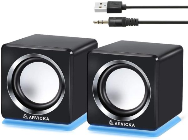 two computer speakers with LED light accents from arvicka
