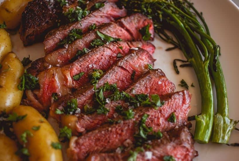 Image of sliced steak on a dinner plate
