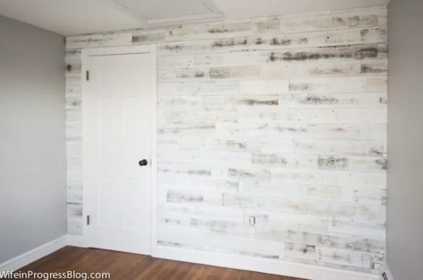 weathered board accent wall