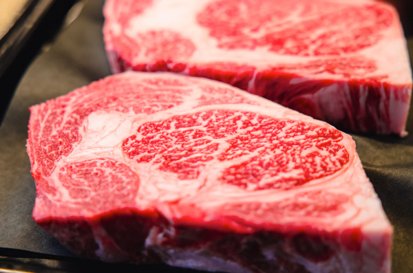 A beef steak with high marbling