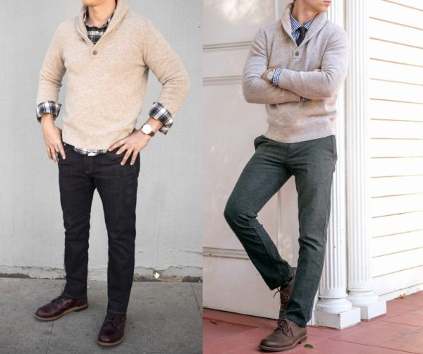 two images of men wearing shawl collared sweaters with dark pants for primer magazine