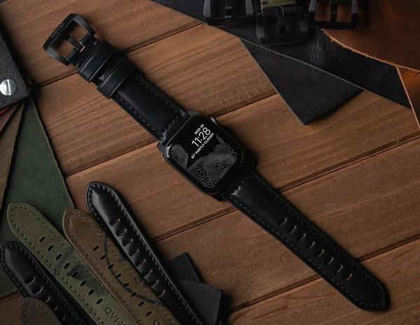 Shell cordovan black watch strap