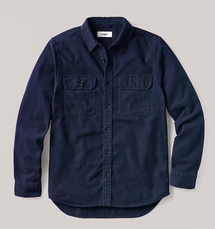 buck mason solid flannel two pocket shirt