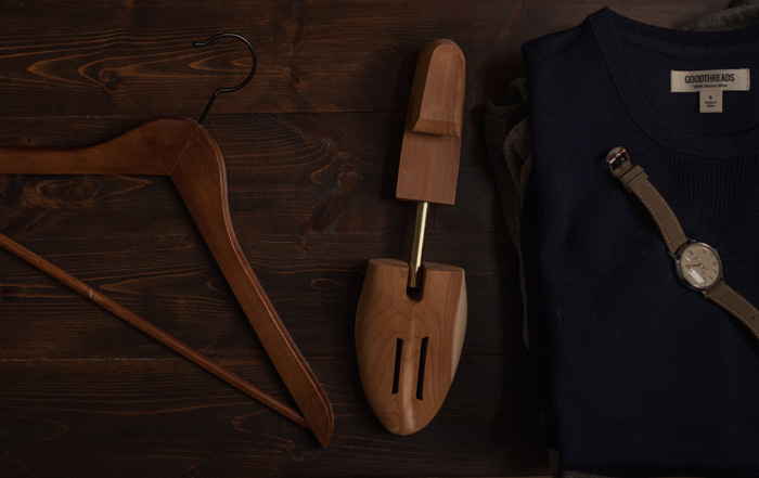 wood hanger with cedar shoe tree and watch