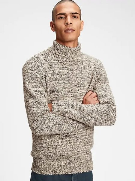 man wearing a turtleneck sweater from gap