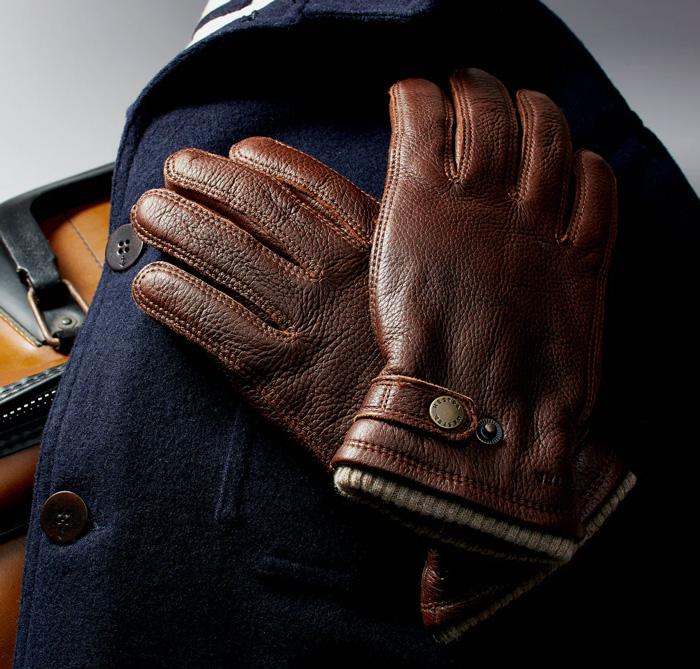 brown leather elk gloves