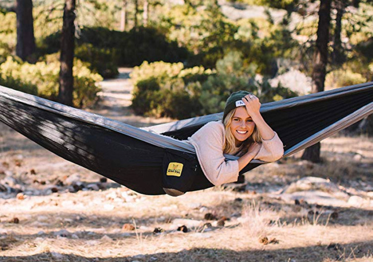 woman laying in a hammock from ENO