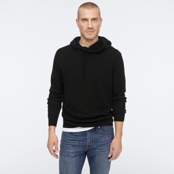 black cashmere long sleeve hoodie