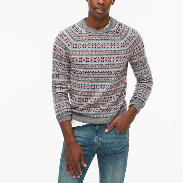 man wearing a fair isle style sweater from jcrew factory retailer