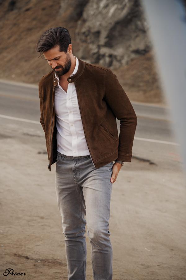 man wearing thursday boots racer jacket