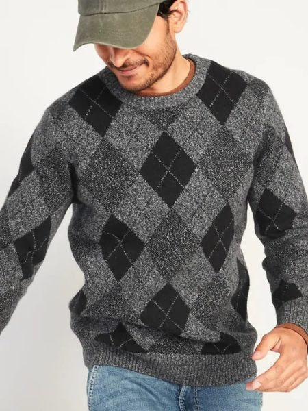 man wearing an argyle style sweater from old navy retailer
