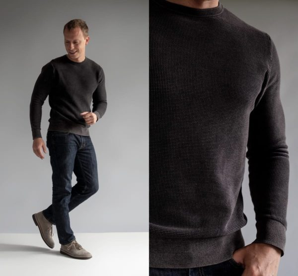 two images of a man wearing a black thermal sweater for primer magazine