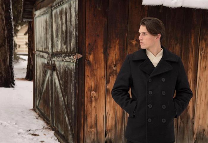 man wearing schott pea coat