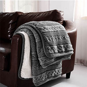 cable knit sherpa throw blanket