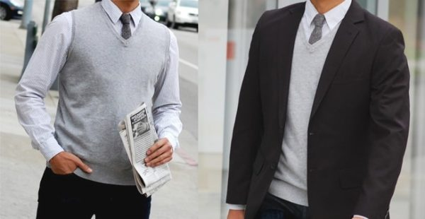 two images of men wearing grey sweater vests