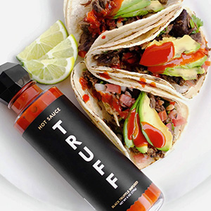 truff hot sauce with tacos