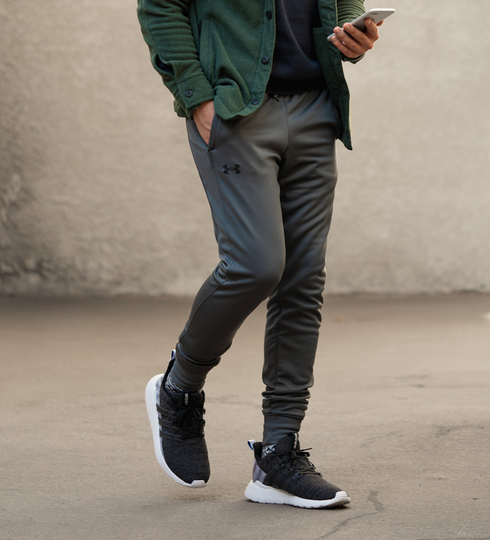 under armour jogger with sneakers
