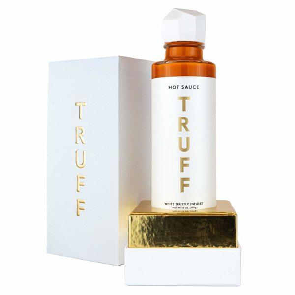 bottle of white truffle hot sauce