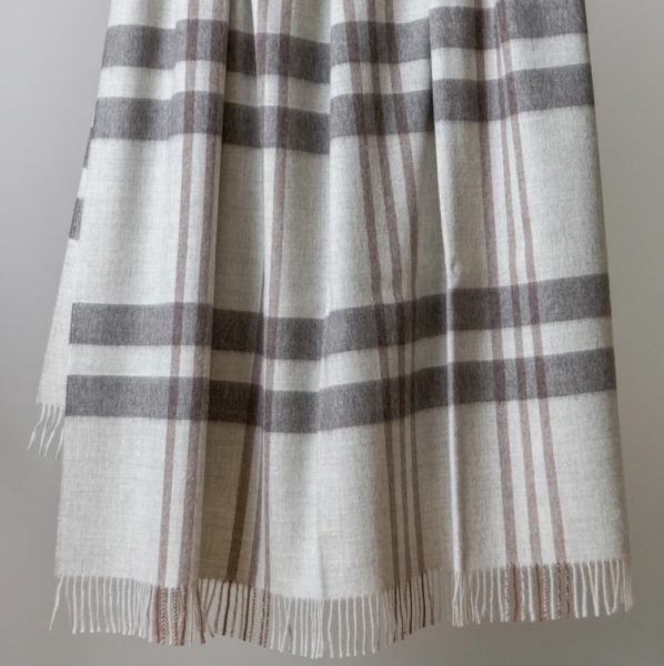 plaid printed alpaca wool throw blanket